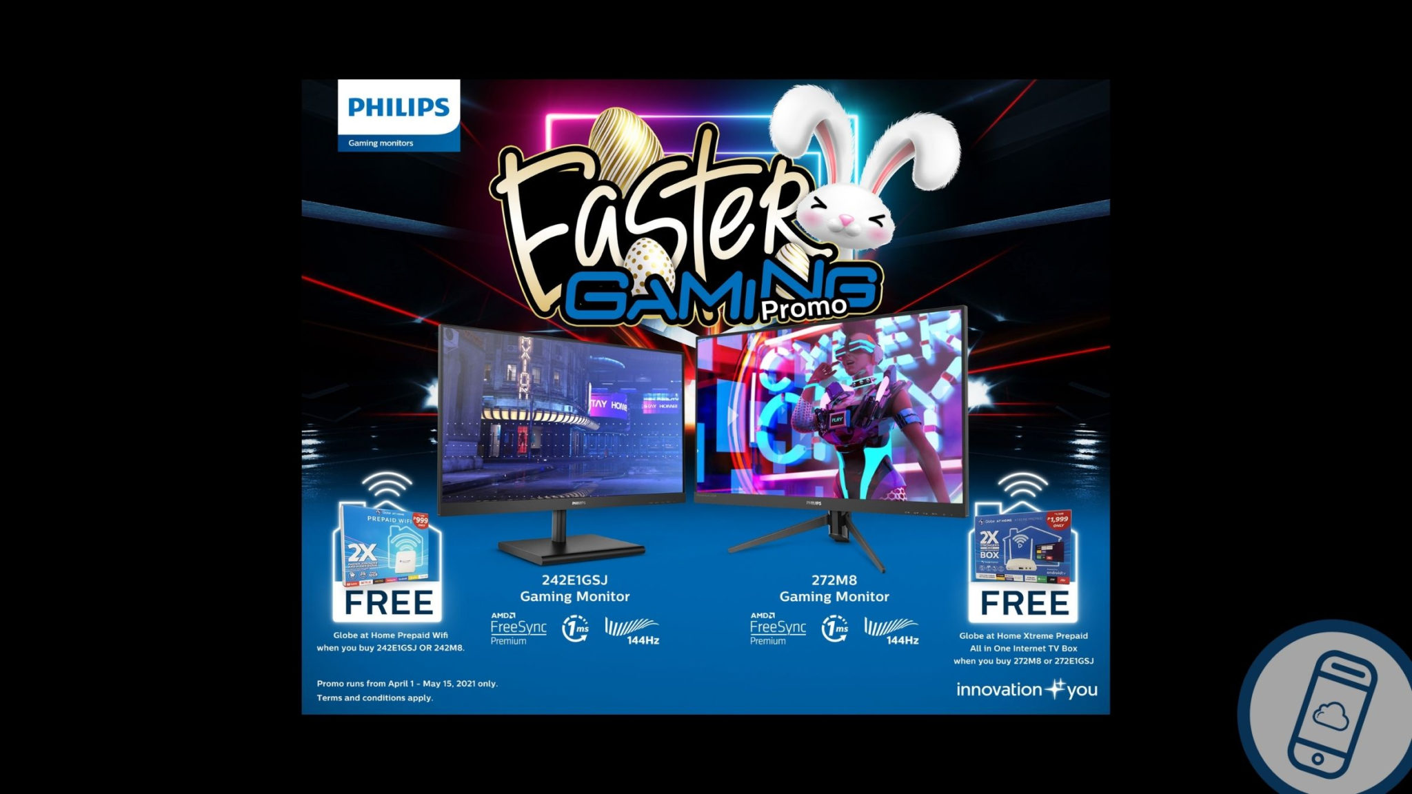 Philips Gaming Monitors and Globe for Easter Gaming Promo Header